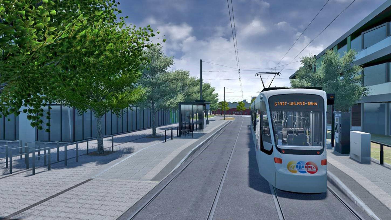 Der Entwurf zeigt die Haltestellengestaltung der Stadt-Umland-Bahn am Rudeltplatz in Büchenbach.