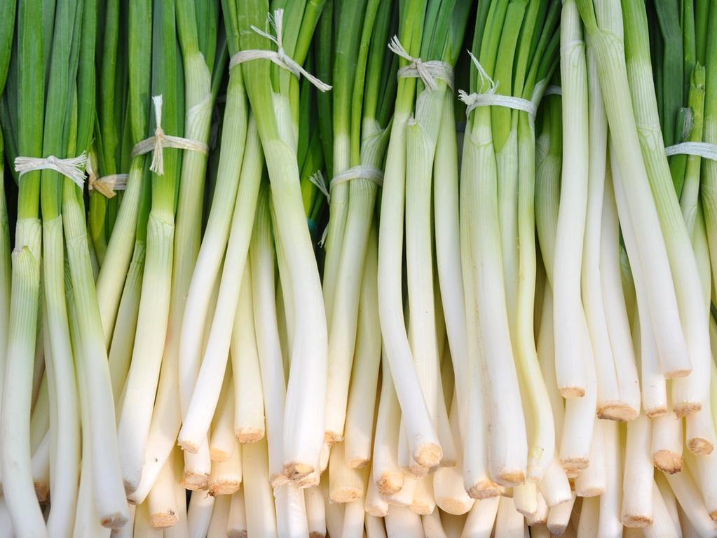 Frühlingszwiebeln sind kalorienarm und enthalten die gleichen gesunden Inhaltsstoffe wie große Zwiebeln, vor allem Vitamin B, C und E, Kalium und Kalzium, Eisen und Beta-Carotin.