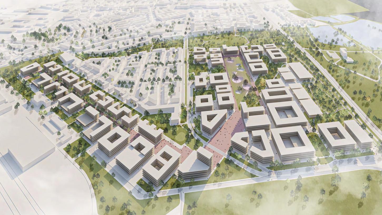 Siegerentwurf für die Struktur- und Rahmenplanung der neuen Technischen Universität Nürnberg aus der Vogelperspektive.
