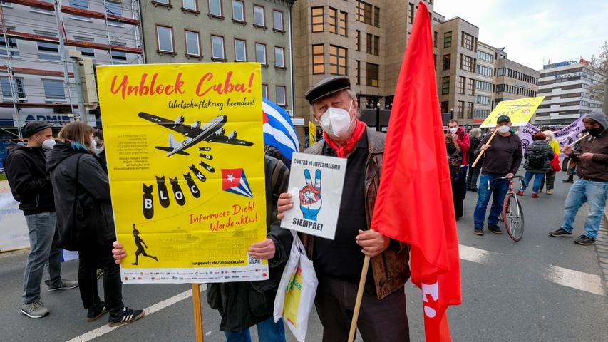 Nürnberg; 01.05.2021; Revolutionärer 1. Mai;  Demonstrationszug;  Foto: Günter Distler