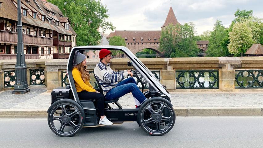 Kommt aus Nürnberg: Der vierrädrige Bio-Hybrid, hier als zweisitzige Passenger-Variante.
