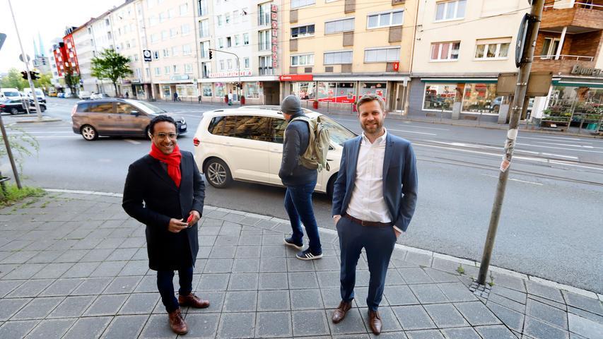Sie setzen sich füreine Lösung für das Nadelöhr in der Bayreuther Straße / Pirckheimerstraße ein: Die Stadträte Nasser Ahmed (SPD) und Max Müller (CSU).