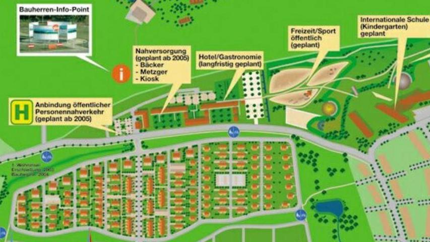 """Blick in die Vergangenheit: In der Planung der """"World of Living"""" von 2004 hätte die Nahversorgung vor dem Bau des Hotels auf der Herzo Base kommen sollen. Und auch den Bau der StUB (siehe Haltestelle links) erwarteten die Planer deutlich früher."""
