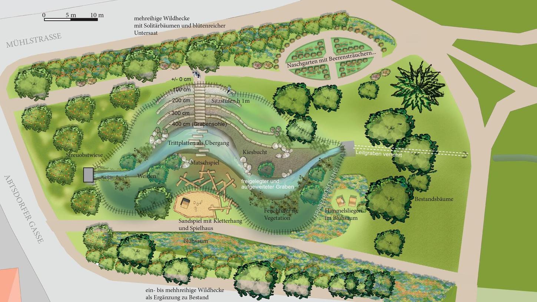 """Diese Planskizze für die Neugestaltung des """"Wunderparkplatzes"""" an der Mühlstraße hat der Verein """"Freundeskreis Stadtpark Neumarkt"""" an alle Stadträte geschickt."""