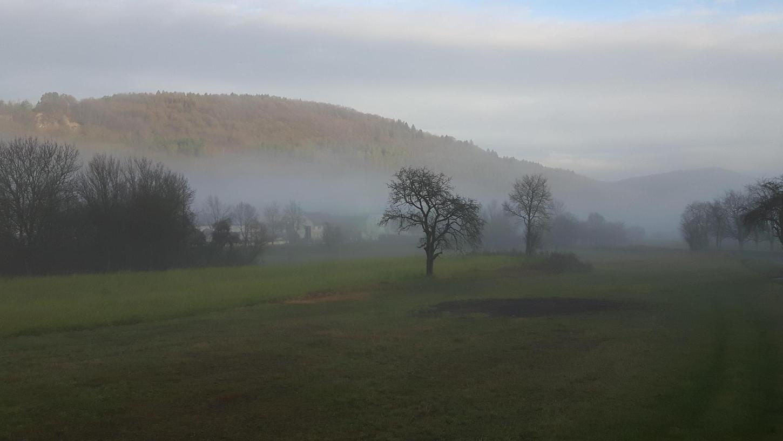 Nebel über dem Wiesenttal bei Ebermannstadt: Nicht umsonst fliehen viele Städter (und andere) hinaus in die schöne Fränkische Schweiz. So lange sie Rücksicht auf die Natur nehmen, ist das kein Problem.