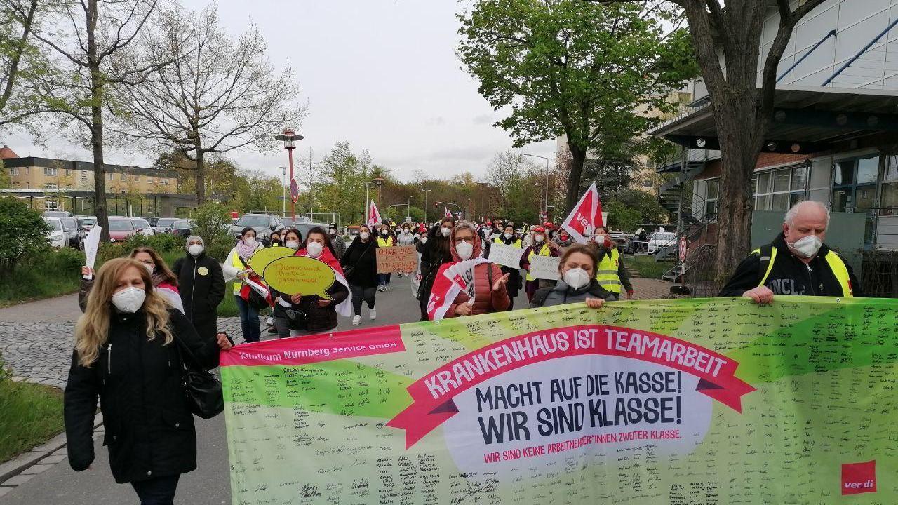 Ver.di rief die Beschäftigten der Service-GmbH des Klinikums Nürnberg zu einem eintägigen Warnstreik auf. Besonders sensible Bereiche ließ man aber außen vor.