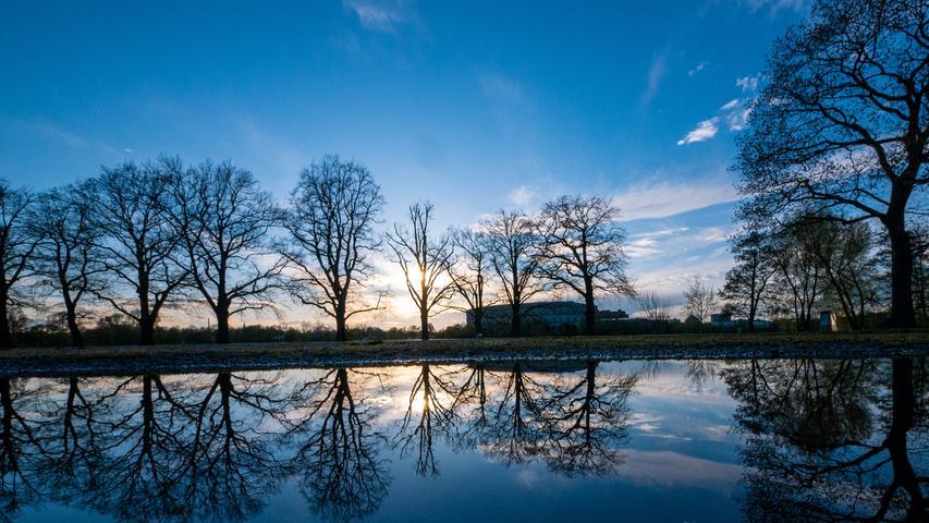 Sonnenuntergang am Dutzendteich. Dass sich die Bäume wie in einer Blaupause widerspiegeln, ist einer großen Pfütze zu verdanken, in der sich der Fotograf nasse Knie geholt hat.