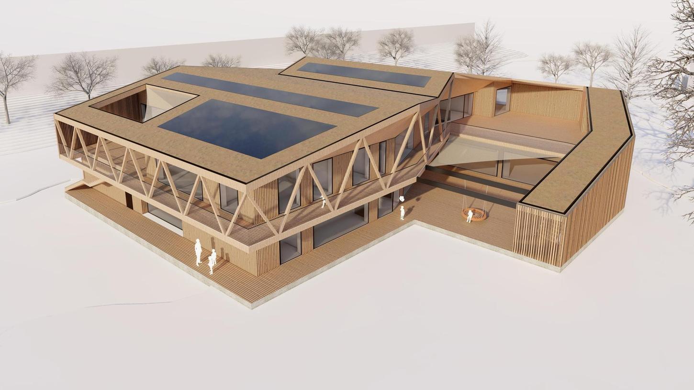 Zwei sechseckige Bauten, die ineinander geschoben werden: So hat sich der Architekt den Neubau vorgestellt.