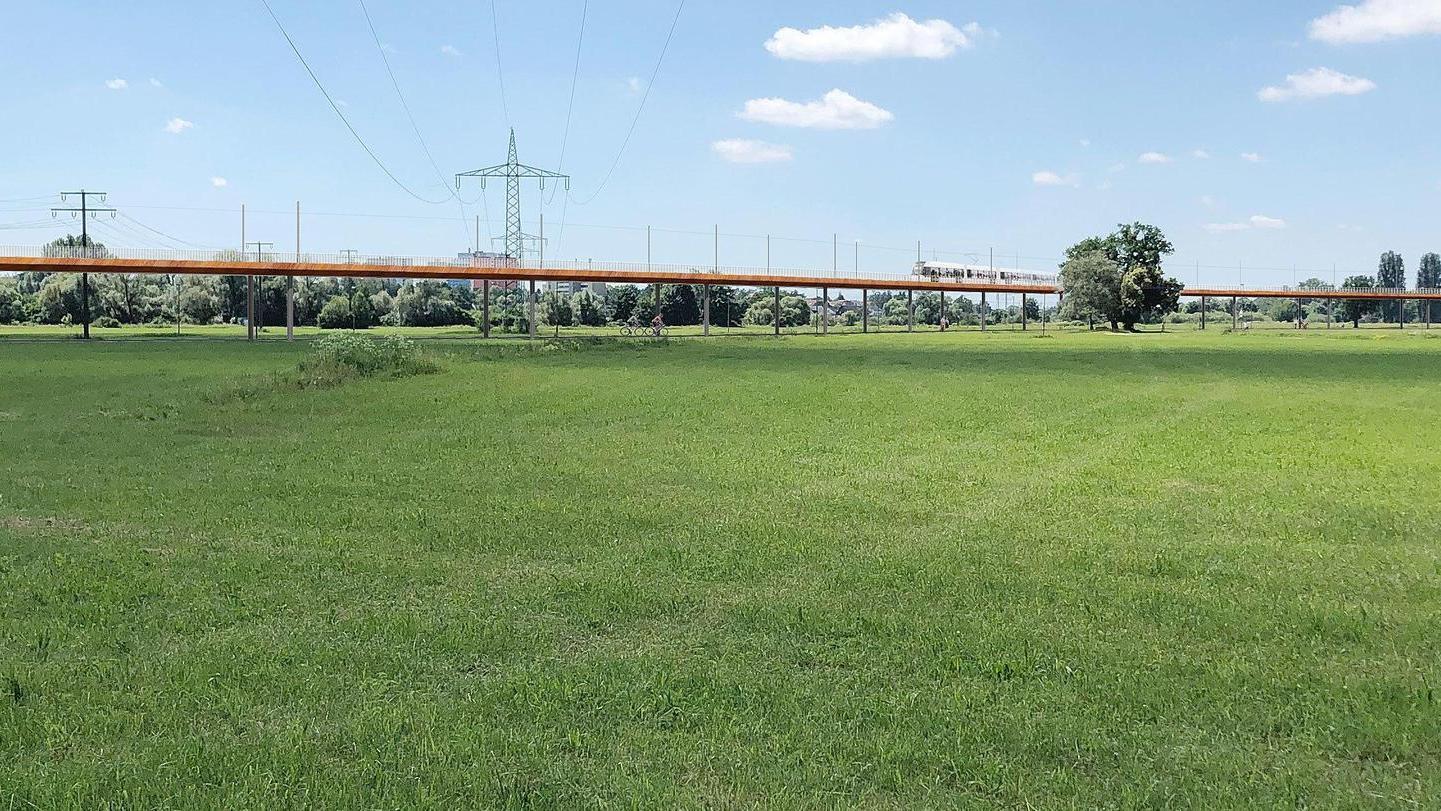 Unser Bild zeigt Visualisierungen des 1. Preisträgers beim Realisierungswettbewerb Brücke über den Regnitzgrund in Erlangen.