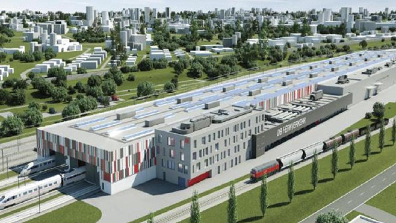 So soll die 450 Meter lange ICE-Werkstatthalle aussehen. Im Raum Nürnberg stehen neun Standorte zur Diskussion, zwei davon tangieren am Rand auch die Gemeinde Rohr.