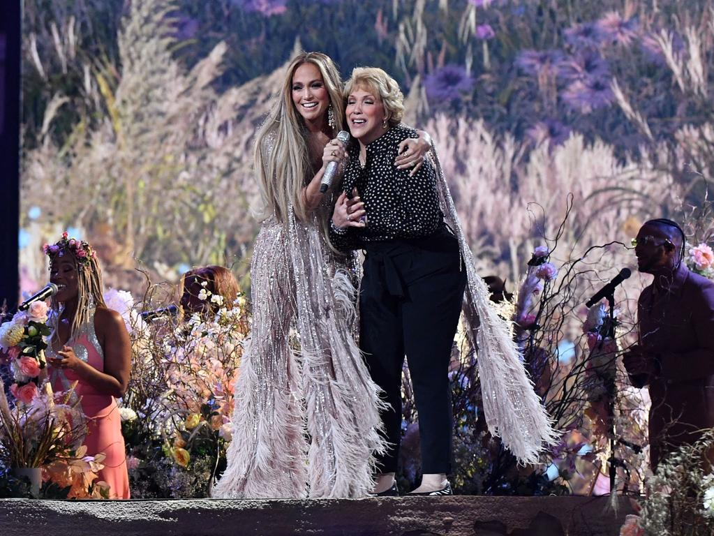 TOPSHOT - US singer Jennifer Lopez performs onstage with her mother Guadalupe Rodriguez (R) during the taping of the