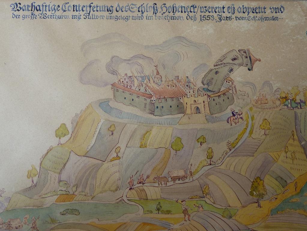 FOTO: Ernst Werner Schneider, 2018 MOTIV: Ipsheim, Burg Hoheneck, So soll Burg Hoheneck vor seiner Zerstörung 1553 ausgesehen haben. Das Bild entstand durch den damaligen Burgmaler.