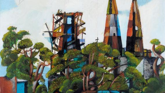 1958 verewigte Michael Mathias Prechtl Stadtparkrestaurant und Reformations-Gedächtniskirche in kubistischer Manier in diesem leider verschollenen Gemälde.