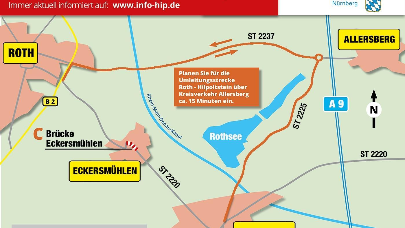Ab Mitte Mai gilt die Umleitung über die orangene Route.