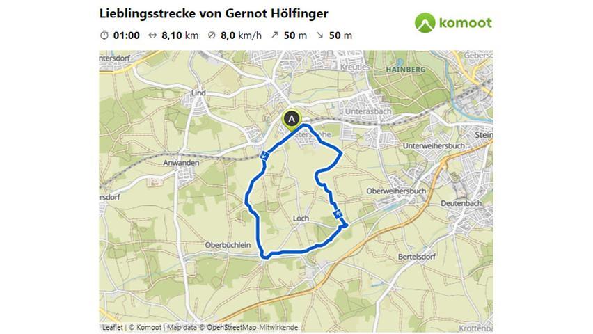 Hier geht es zur Lieblingsstrecke von Gernot Höflinger.  © OpenStreetMap-Mitwirkende