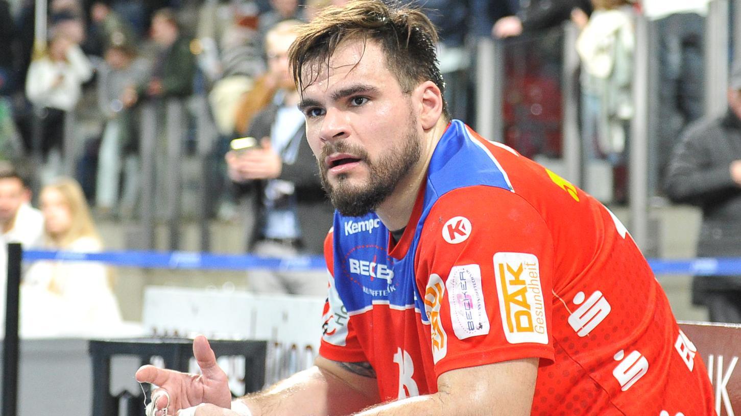 Benjamin Meschke konnte lange nur zuschauen, im Februar 2020 reichte es immerhin noch für ein Tor gegen den HC Erlangen.