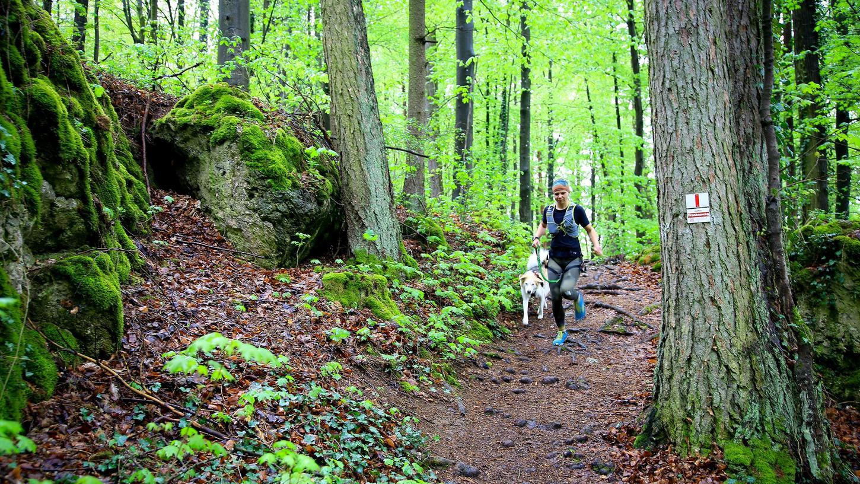 Giulia Schneider läuft am liebsten mit ihrer Hündin Nikita. Bei Bergab-Passagen muss der Husky hinter ihr bleiben, sonst wird es bei Wurzeln und rutschigem Laub zu gefährlich.