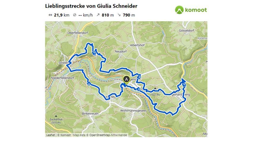 Hier geht es zur Lieblingsstrecke von Giulia Schneider.  © OpenStreetMap-Mitwirkende
