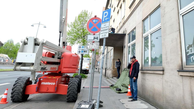 Aktuell laufen hier die Arbeiten für die Mini-Serie, die im ZDF ausgestrahlt werden soll. Derweil machen sich die Nürnberger Gedanken, was aus dem Gebäude wird.
