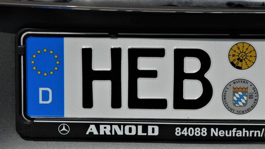 Beliebt ist im Nürnberger Land dasHEB für Hersbruck, 13.619 Kennzeichen machten 20208,5 Prozent der Gesamtkennzeichen im Landkreis Nürnberger Land aus.