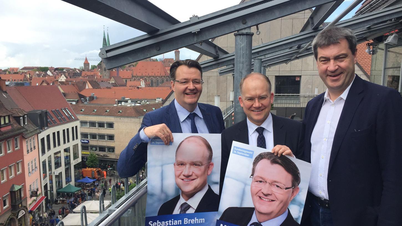 Söders Männer für Nürnberg: Michael Frieser (links) und Sebastian Brehm (Mitte) wollen ihre Direktmandate verteidigen (Archivbild)
