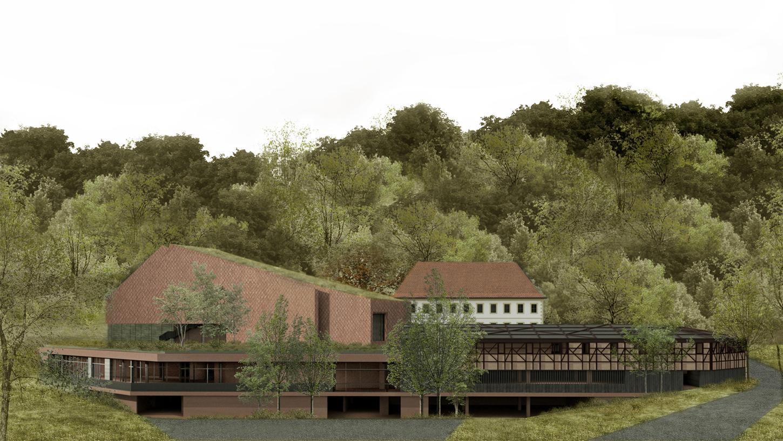 Eine Simulation: So soll die Konzerthalle mit darunter liegender Tiefgarage und Restaurants vor dem Schloss aussehen.