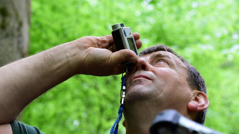 Wie hoch ist der Baum? Mit einem Ultraschall-Messgerät kann Ludwig Arnold genau die Höhe eines Baumes bis hinauf ins Kronendach bestimmen.