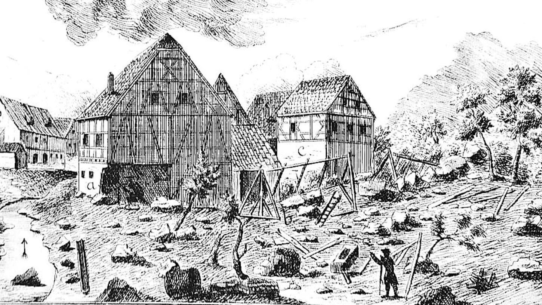 Durch Starkregen kamen sieben Menschen ums Leben, zahlreiche Tiere verendeten, Häuser, Anbauten und eine Mühle wurden zerstört.