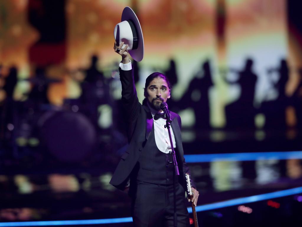 22.05.2021, Niederlande, Rotterdam: The Black Mamba aus Portugal singt Love Is On My Side beim großen Finale des Eurovision Song Contest (ESC) in der Ahoy-Arena. Foto: Peter Dejong/AP/dpa +++ dpa-Bildfunk +++