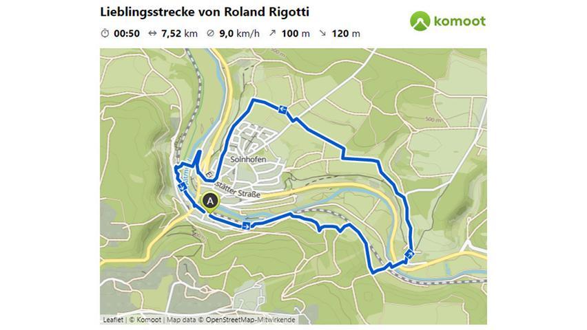 Hiergeht es zur Lieblingsstrecke von Roland Rigotti. © OpenStreetMap-Mitwirkende