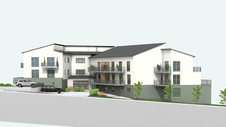 Derzeit nur als 3-D-Ansicht verfügbar: So soll das Gebäude einmal aussehen. Wenn alles planmäßig verläuft, könnte die Einrichtung im Sommer 2023 in Betrieb gehen.