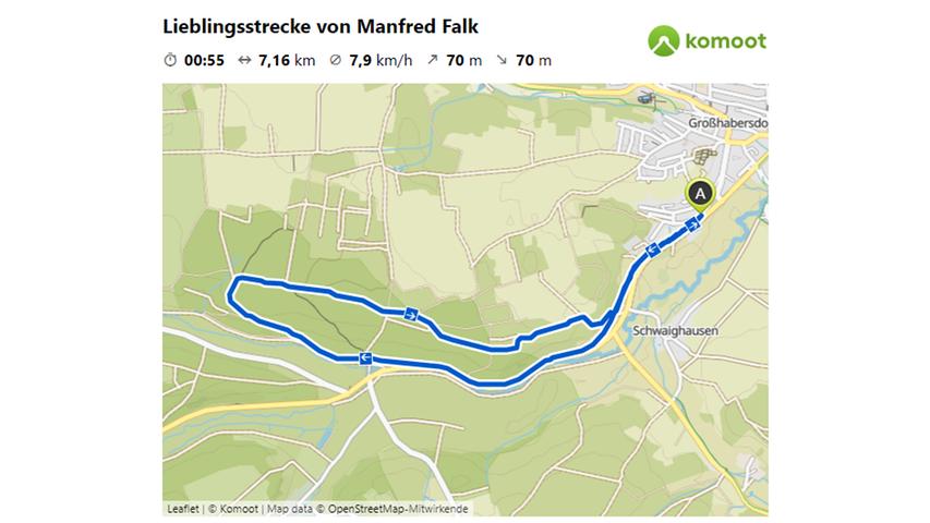 Hier geht es zur Lieblingsstrecke von Manfred Falk.  © OpenStreetMap-Mitwirkende