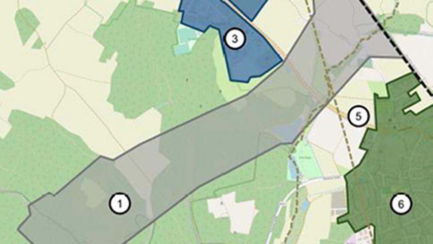 """Eine Grafik der DB zeigt, wo das neue ICE-Werk entstehen könnte:1. Untersuchungsraum für ICE-Werk, 3. Gewerbegebiet """"Am Espen"""", 5. Bundestraße B8, 6. Wohnbebauung Postbauer-Heng."""