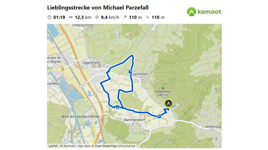 Hier geht es zu Lieblingsstrecke von Michael Parzefall.  © OpenStreetMap-Mitwirkende