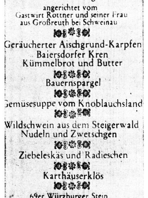 Den bisher nahrhaftesten Beitrag zum Dürer-Jahr leistete die Confrérie de la Chaine des Rôtisseurs auf der Nürnberger Kaiserburg. Bei einem Unkostenbeitrag von 85 DM waren etwa 200 Gäste dabei, als Samstagabend im Kaisersaal ein stilgerechtes Diner aus der Zeit Dürers gereicht wurde.Hier geht es zum Kalenderblatt vom7. Juni 1971: Der kulinarische Dürer-Beitrag.