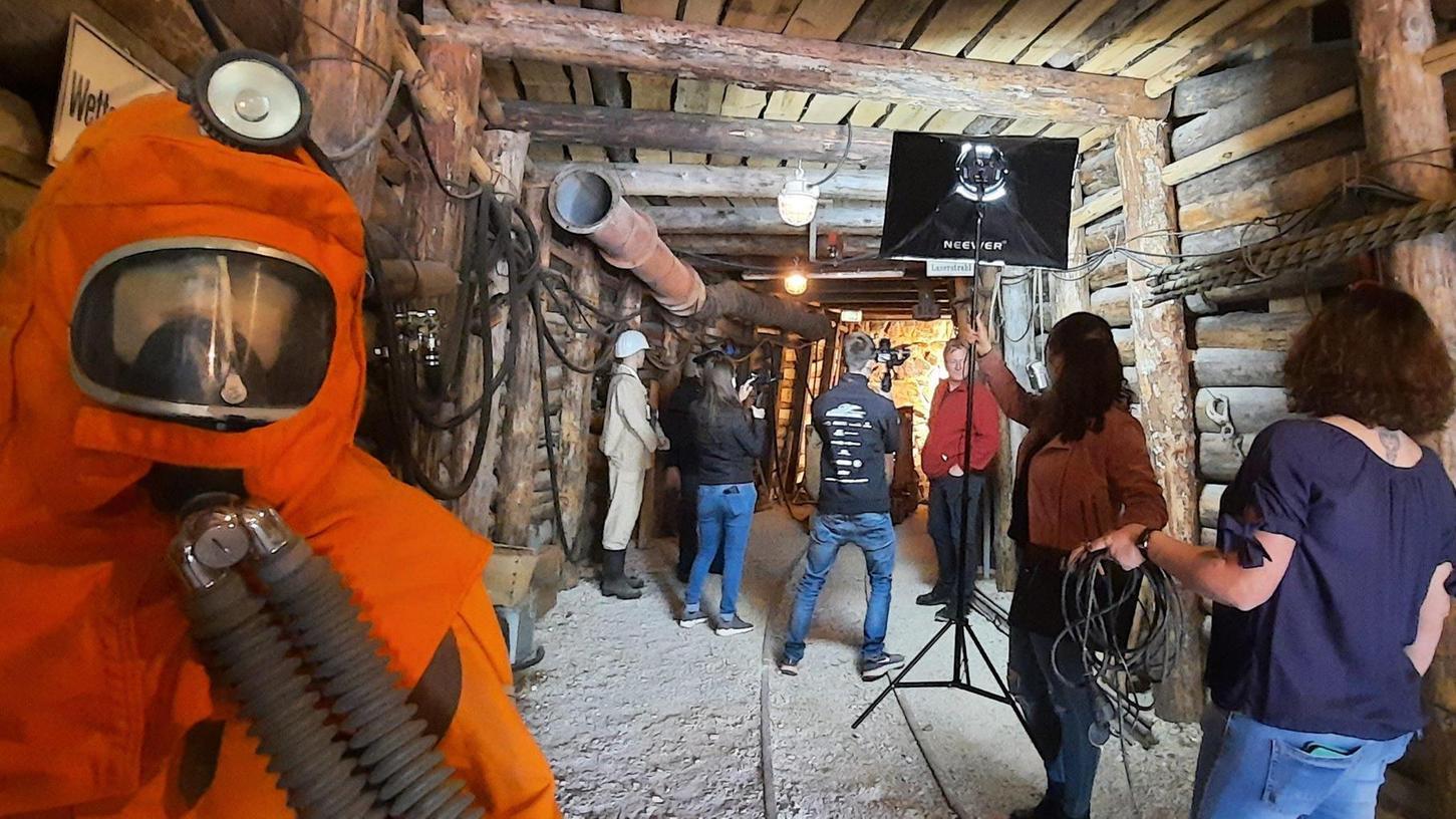 Der Schaustollen des Bergbaumuseums wurde am Montag zum Drehort für einen Film über die Montangeschichte in der Region.