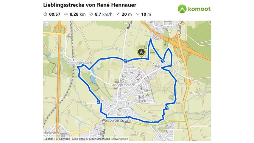 Hier geht es zur Lieblingsstrecke von Rene Hennauer.  © OpenStreetMap-Mitwirkende