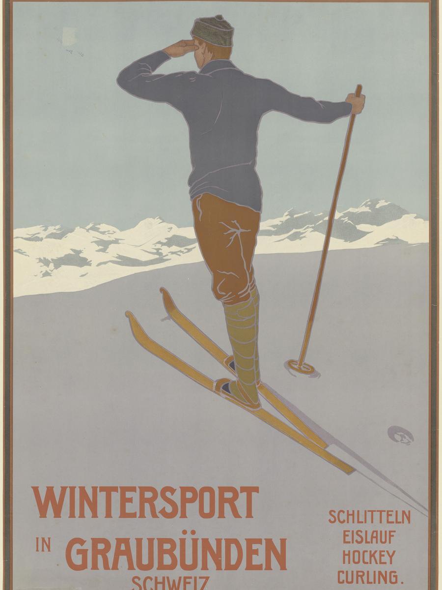 """Repro, Plakat """"Wintersport in Graubünden"""", Zürich, 1907"""