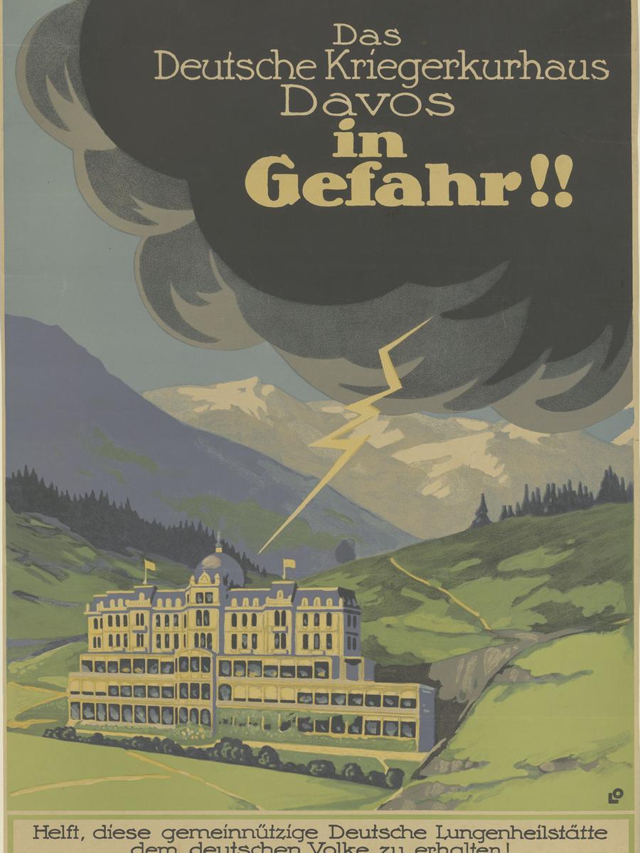 """Plakat """"Das Deutsche Kriegerkurhaus in Gefahr"""", Berlin, 1920.Entwurf: Louis Oppenheim, Lithografie."""