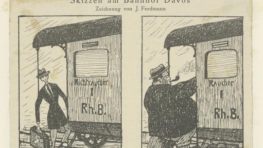 Jules Ferdmann: Skizzen am Bahnhof Davos, Ausschnitt aus der Davoser Revue von 1924