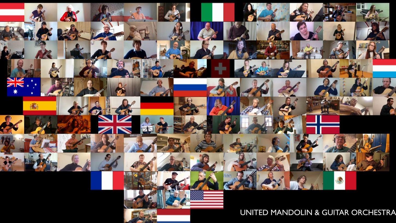 """Weltweit haben Musiker für das Stück """"Connected"""" geprobt und ihren Beitrag dann online weitergeschickt – wie hier ein Screenshot zeigt. André Herteux hat dann die über 100 Audio- und Videospuren zu einem einzigen Video vereint."""