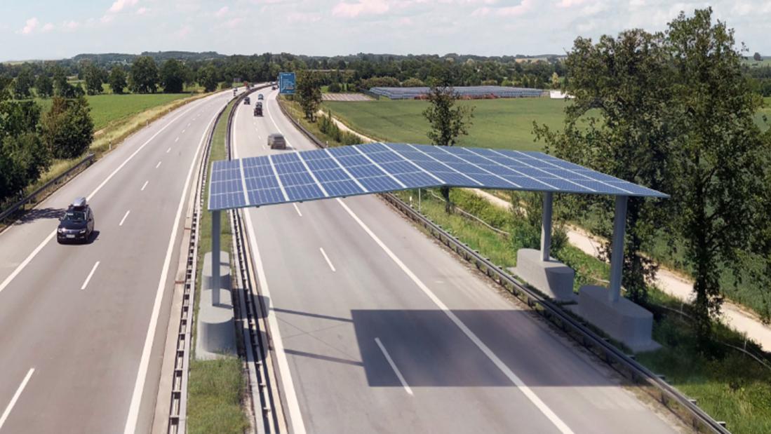 Solardach: So soll die Photovoltaik-Anlage an der Autobahn A81 aussehen.