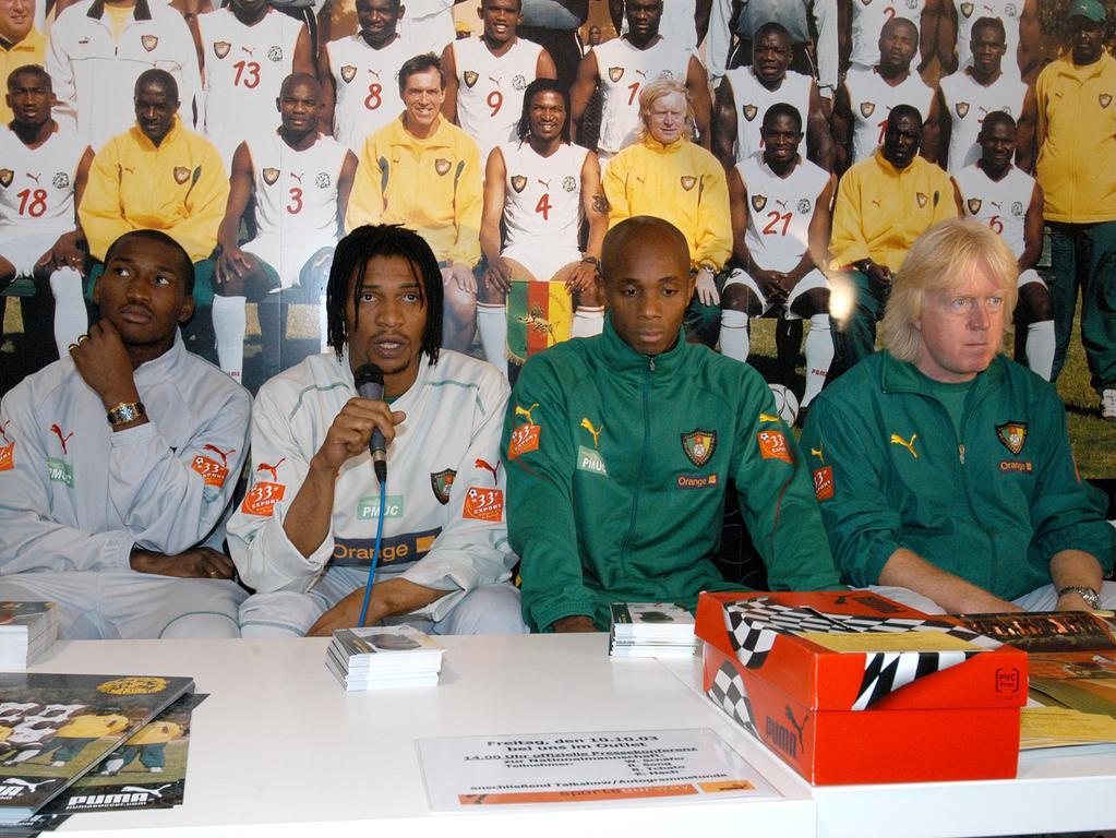 Ressort: B2 Herzogenaurach Foto: Mark Johnston..Motiv:Nationalmannschaft von Kamerun zu Gast bei PUMA/Tainer Winnie Schäfer mit Spielern