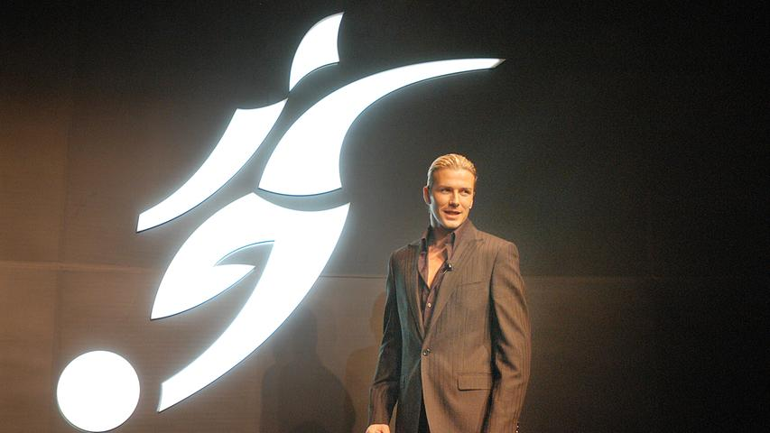 Illustrer Gast: David Beckham stellte vor Jahrzehnten in Herzogenaurach das Adidas-Logo für seine Beckham-Mode vor.