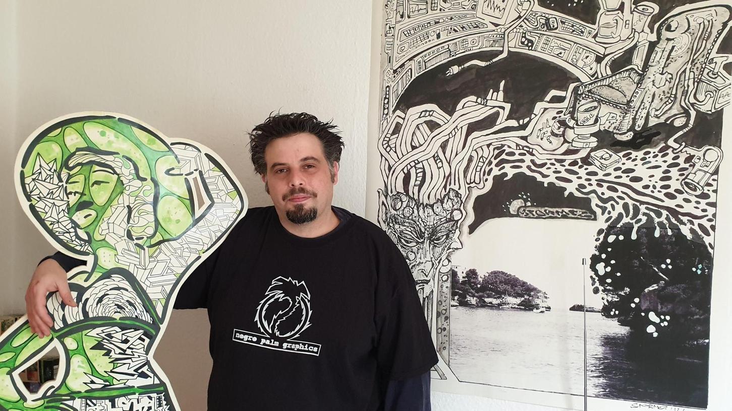 """In der Pandemie entdeckte der Zeichner Ramon Serrano, bislang auf starke Schwarz-weiß-Kontraste spezialisiert, die Farben für sich und findet: """"Das fühlt sich jetzt an wie echtes Leben."""""""