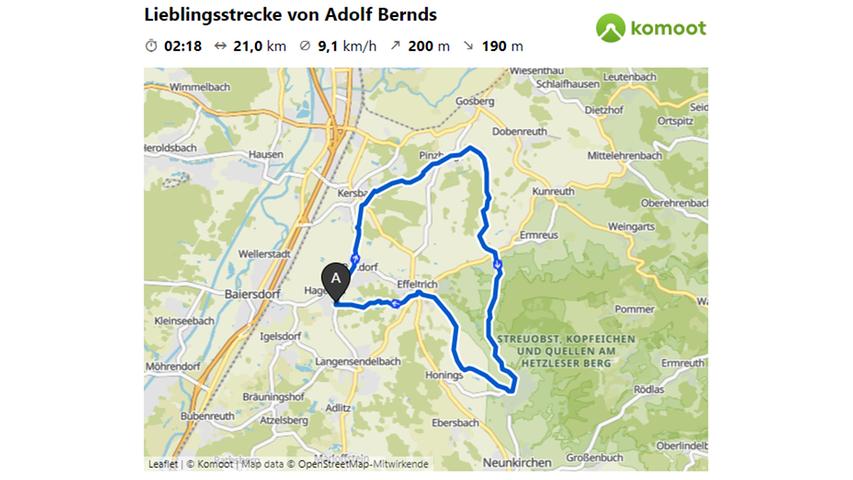 Hier geht es zur Lieblingsstrecke von Adolf Bernds.  © OpenStreetMap-Mitwirkende