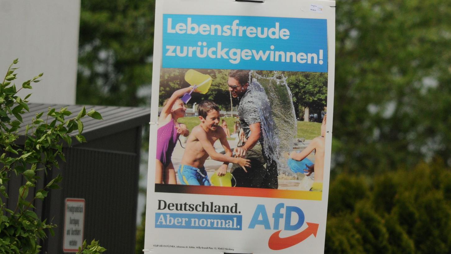 Schon dreieinhalb Monate vor der Bundestagswahl plakatiert eine Partei in Schwabach. Aber es handelt sich nicht um einen Frühstart - solange sie dafür zahlt.