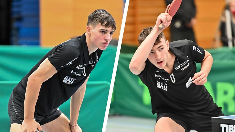 Auf höchste Konzentration und vollen Einsatz kommt es beim Tischtennis an. Die beiden Nachwuchskader-Spieler Hannes Hörmann (links) und Matthias Danzer beim Spiel der zweiten Mannschaft des TV 1879 Hilpoltstein gegen den TSV Gräfelfing im Oktober 2020.