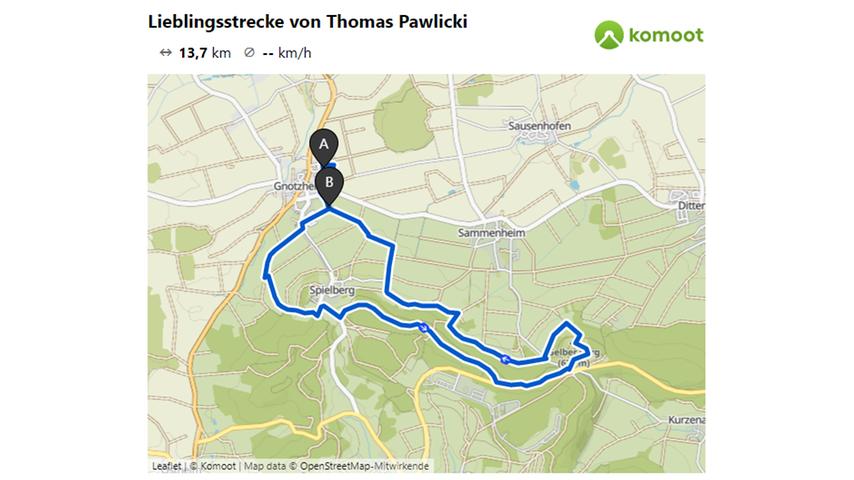Hier geht es zur Laufstrecke von Thomas Pawlicki. © OpenStreetMap-Mitwirkende