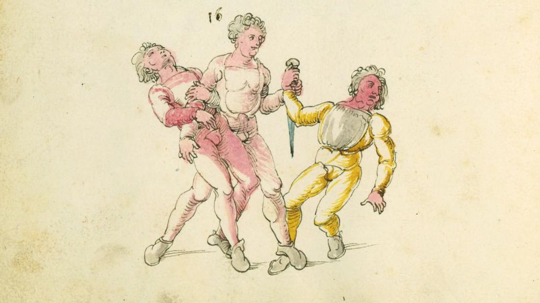 Motiv aus Dürers Fechtbuch.